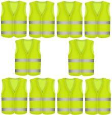 10 Warnweste Unfallwesten Neon Gelb Sicherheitswarnweste Warnwesten KFZ EN 471