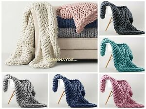 FRESH & SOFT FAUX WOOL CHUNKY CABLE KNIT HAND-WOVEN SOFA BED CHAIR BLANKET THROW