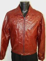 Vtg Bermans Men BURGUNDY Leather CAFE RACER Jacket Motorcycle MOTO Biker Coat 38