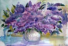 Bild*Aquarell*Flieder*Blumen*Strauß*Pflanzen*Original*Flora*29,7x42cm*Vase*Neu*s