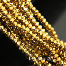 3strings 3mm Faceted cut Glass Crystal Spacer Oval Loose Beads Craft DIY Y-pk