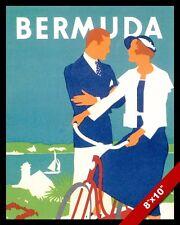 VINTAGE BERMUDA ADVERTISEMENT VACATION TRAVEL AD POSTER ART REAL CANVAS PRINT
