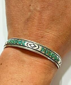 Early Navajo NAKAI Cuff Turquoise Chip Inlay Nickel Silver Bracelet