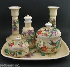 Vintage Porcelain Hand Painted Bird 6 Piece Dressing Table Vanity Perfume Set