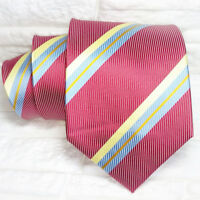 Wide necktie 100% silk striped red Morgana Italy wedding / business mens ties