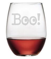 Boo! Halloween Stemless Wine Glasses Set of 4