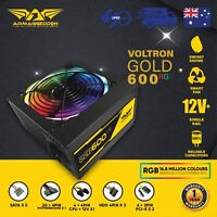 600 Watt PC Computer RGB Power Supply Armaggeddon Voltron Gold Series
