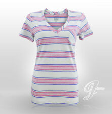 VANS Ladies Womens Linked up V Neck Short Sleeve T Shirt Top Medium Striped