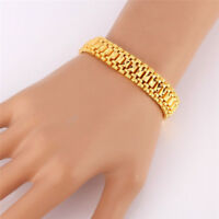 Chunky Link Chain Bracelet 18K Gold Plated Cuff Bangle Wristband Jewelry UK