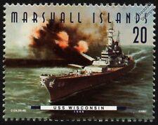 """USS WISCONSIN (BB-64) """"WisKy"""" Iowa Class Battleship Warship Stamp (1997)"""
