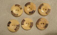 6 Boutons anciens en corozo beige & marron Ø : 18 mm
