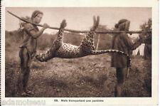 Carte postale, INDOCHINE VIETNAM, Moïs transportant une panthère.