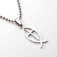 Jesus Fish Pendant Necklace Titanium Cross Christian Gifts Jewelry Ichthys