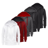 Mens Plain Hoodie Fleece Zip Up Jacket Long Sleeve Sweatshirt Hooded Top S-XXXL