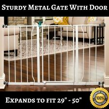 Baby Gate with Door for Hallway Doorway Extra Wide Pressure Mount Safety Dog Cat