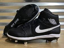 Nike Air Jordan 1 Retro Mid Metal Baseball Cleats Black White SZ ( AV5355-001 )