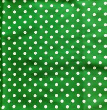 Green Polka Dot Thick Cotton Drill. Ideal for Upholstery Crafting Home Textiles