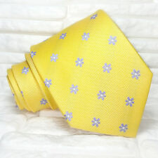 Yellow tie with blue flowers NEW 100% silk Made in Italy handmade Morgana brand