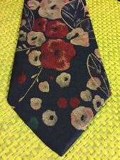 Windridge Blue Red Japanese Floral Short Classic Thick Polyester Mens Neck Tie