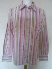 TOMMY HILFIGER ladies blouse size 8 pink/white/green stripe logo western fitted