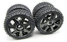 TROPHY Buggy TIRES, Wheels 17mm hex tyre Proto Edge Black Chrome HPI flux 107016