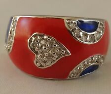 Heart, Red and  Blue  [ P  Ring  ] 925 Sterling Silver with Clear Cubic Zircon
