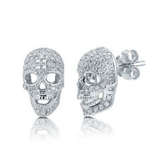 BERRICLE Sterling Silver CZ Skull Bones Fashion Stud Earrings