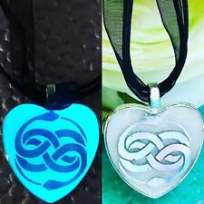 Neverending Story Auryn Symbol Holofoil Glow In The Dark Heart Pendant Necklace