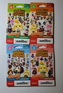 Animal Crossing Amiibo Card Pack Series 1, 2, 3, 4 (4 packs of 6 cards = 24) NEW