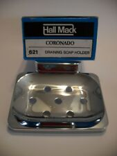 Vintage Chrome Soap Dish Holder water Drain Holes Wall Mount Hall-Mack Washroom