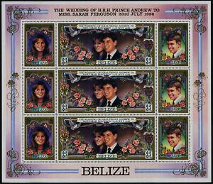 Belize 833 sheet MNH Prince Andrew, Sarah Ferguson Wedding, Flowers, Roses