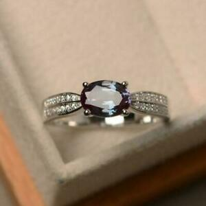 1.10CT Oval Cut Alexandrite & Diamond Engagement Ring in 14K White Gold Over