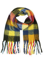 ScarvesMe Women's Warm Winter Soft Check and Plaid Oblong Scarf with Fringe