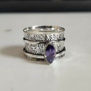 Amethyst Spinner Ring 925 Sterling Silver Plated Handmade Ring Size 9.5 JP137