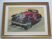 LEN MUSK ORIGINAL PAINTING CLASSIC CAR AUTOMOBILE 1933 STUTZ VINTAGE LISTED