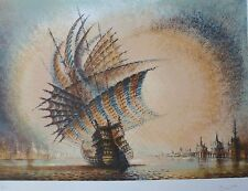 """PIERRE CLAYETTE """"ORANGE SAILING"""" HAND SIGNED LIM.ED FRENCH LITHOGRAPH"""