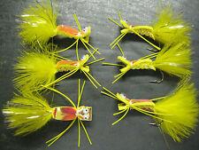 12 Electric Frog Yellow Foam Chernobyl # 6 Fly Fishing Flies Brookside