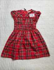 NEW GIRL'S 6 J CREW CREWCUTS SMOCKED FLUTTER SLEEVE DRESS IN RED STEWART TARTAN