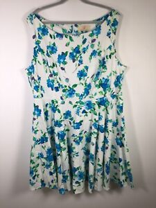Grace Karin womens white floral fit flare dress size 3XL aus 20 sleeveless cotto