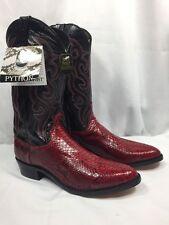 NEW DAN POST PYTHON SNAKESKIN COWBOY WESTERN BOOT RED BLACK CORDOVAN MENS 11.5 D