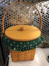"""Longaberger 9"""" Measuring basket 1996 woodcraft lid heritage green liner prot"""
