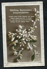 "C1920s Wedding Anniversary Card: Flowers ""Happy Years Have Passed"""