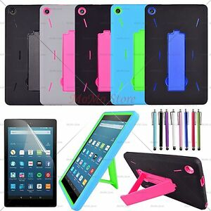 Hybrid Shockproof Kickstand Hard Soft Case Cover For Amazon Fire HD 8 2016