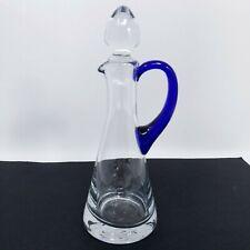 Vintage Clear Glass with Cobalt Blue Handle Cruet