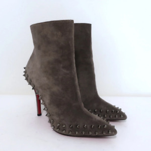 Christian Louboutin Willetta Ankle Boots Gray Spike Studded Suede Size 36