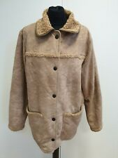 H951 WOMENS BARBOUR BROWN COLLARED SUEDE SHERPA LINED SNAP JACKET UK 16