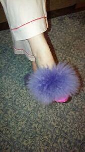 Vintage retro fluffy mule slippers Hausschuhe Jahrgang,Pantoufles moelleus uk 7