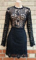 MISSGUIDED BLACK CROCHET LACE LONG SLEEVE SHEER BODYCON PARTY MINI DRESS 10 S
