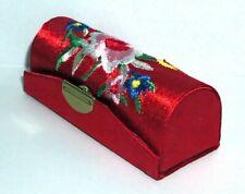 Antique Style Jewelry Lipstick Case Box Trinket Storage Mirror Inside Red