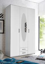 Kleiderschrank Paul, Drehtürenschrank, Schrank mit Spiegel, Weiß, 120 cm breit